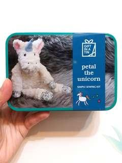 Gift in a tin: Petal the unicorn (simple sewing kit)