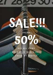 SALE ALL ITEMS 50% OFF