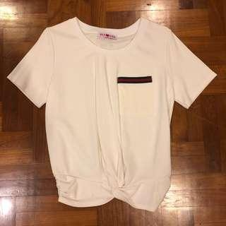 Knotted pocket white top