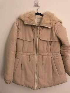Ivory hooded parka with rabbit fur cute details