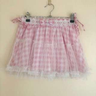 Pink and White Gingham Mini Skirt