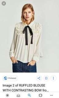 DICARI!!!  zara ruffle blouse with contrasting bow
