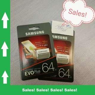 🚚 Samsung Micro SD Card - 64GB - Evo Plus Class 10 Free Adapter