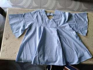 Atasan biru V neck fit to XXL