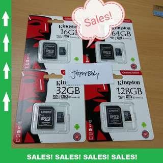 🚚 Kingston Micro SD Card 16GB 32GB 64GB 128GB - CLASS 10 Free SD Adapter (Original!)