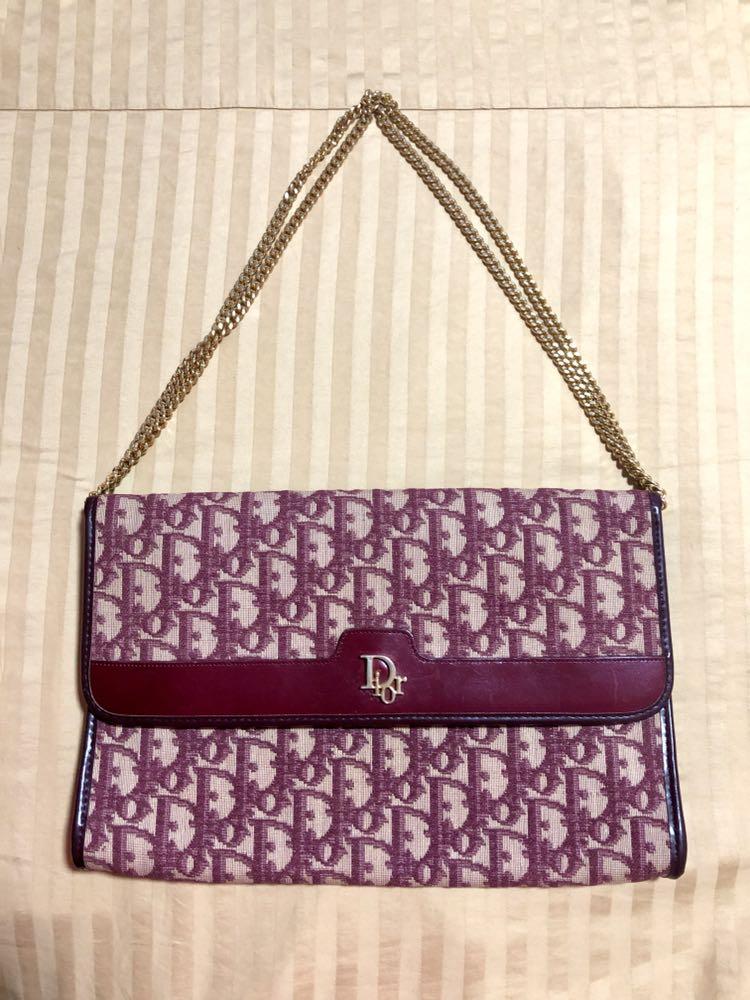 4d41505fc 100% Authentic Vintage Christian Dior Oblique Canvas Chain Sling ...