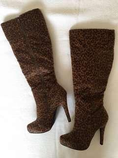 JustFab leopard print knee-high boots - Size 6