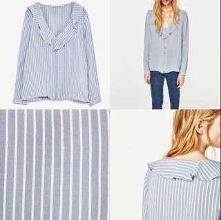 Zara Blue White Ruffled Blouse
