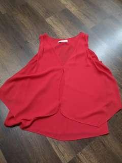 Mango Red V neckline