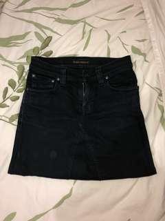 Nudie Jeans black denim skirt