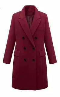 Coat / Long Blazer Merah Maroon New