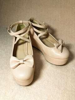 🚚 【Lily搬家出清】綁帶 厚底鞋 粉紅色 蘿莉塔可穿 淑女野餐風 夢幻 Liz Lisa風 派對變裝
