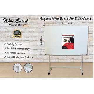Magnetic White Board with Roller Stand