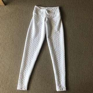 WHITE HONEYCOMB LEGGINGS S/M