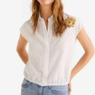 sale! Mango Embroidered Floral Blouse (XS)