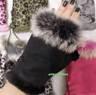 furry hand gloves