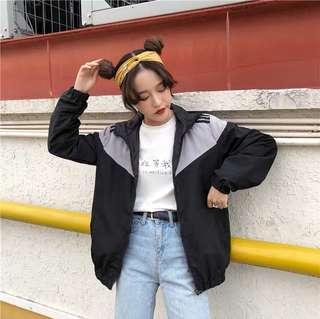 ✨ grey stripe tumblr hooded windbreaker