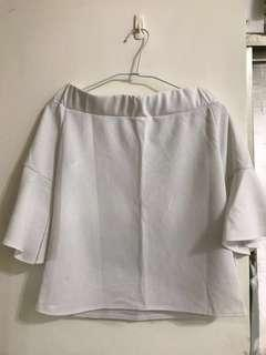 🚚 一字領雪紡寬袖上衣