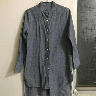 🚚 寬鬆長版直條紋長袖襯衫