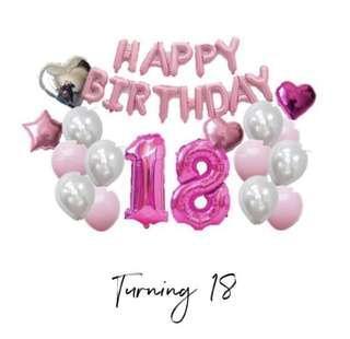 18 Birthday Balloon Set