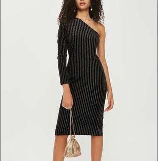 Topshop Velvet Shimmery One-Shoulder Dress