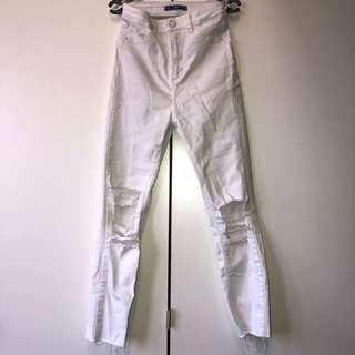 Pull & Bear Ripped Denim Jeans (White)