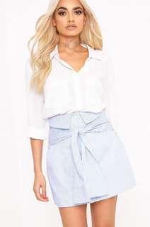 Prettylittlething Pinstripe Shirt-Skirt