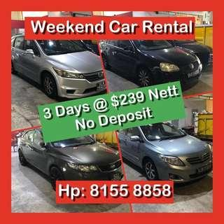 Weekend / Weekday Cheap Car Rental No Deposit