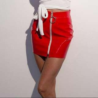 Red Leather Ring Skirt