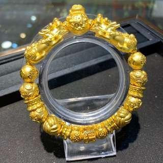 999 full gold charm bracelet