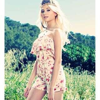 Lipsy Pixie Lott Pink Floral Bandeau Playsuit
