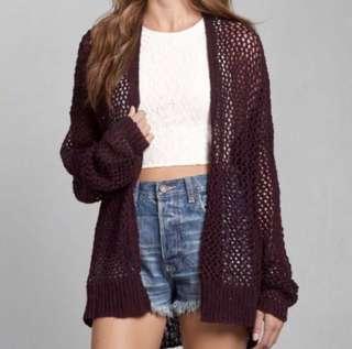 BN A&F Burgundy Knitted Cardigan