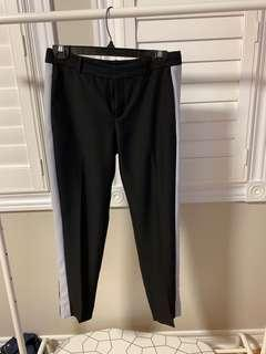 Black dress pants with white stripe
