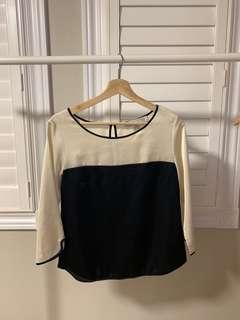 Beige and navy blue blouse