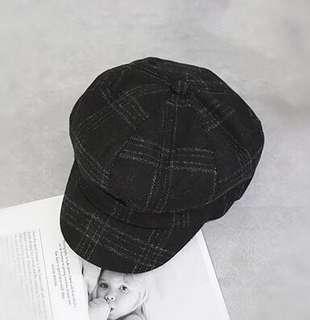 🚚 (現貨出清)英倫風 百搭 格紋 報童帽 八角帽 黑色