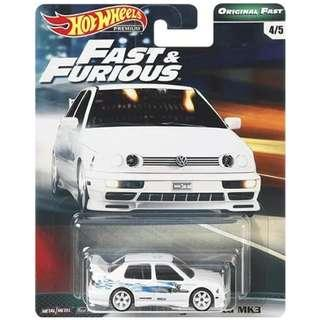 Hotwheels 2019 Fast & Furious Series Wave 2 Volkswagen Jetta MK3 Rare Hot Wheels