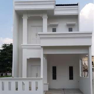 Rumah 100% baru 2 lantai bebas banjir dalam komplek besar raden inten duren sawit jaktim