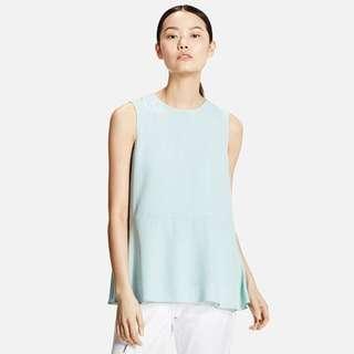 🚚 Uniqlo Georgette Sleeveless Blouse Chiffon Light Turquoise