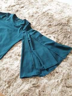 Blouse Aquamarine color with slit sleeves