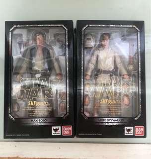 Shf Star Wars Han Solo Luke Skywalker