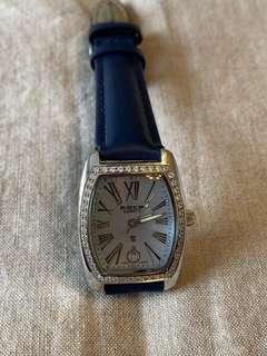 Swiss quartz watch  瑞士石英錶 日曆 貝母表面 鑲48粒水晶.防水 不銹鋼女裝手錶