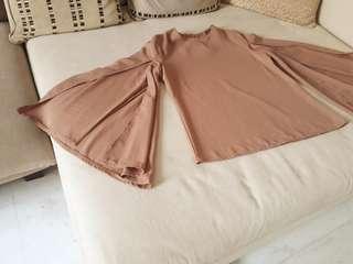Dark Beige top with slit sleeves