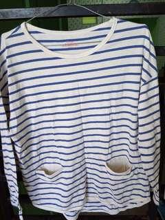 Kaos stripe blue giordano ori