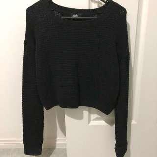 DOTTI Black Crop Knit Jumper - Size XS