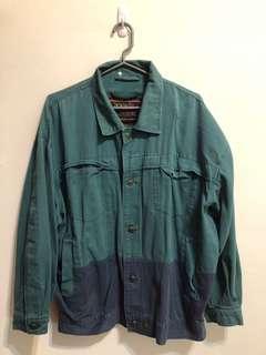 🚚 復古 藍綠 拼色 古著外套 vintage