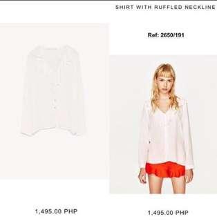 Zara White Ruffled Blouse