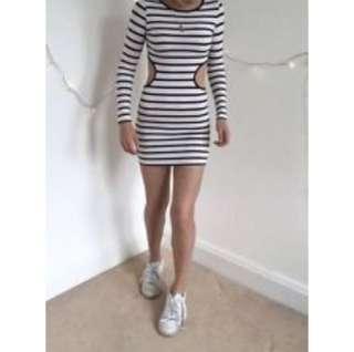 Topshop Basic Cut out dress stripe