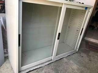 Steel cabinet with glass sliding door