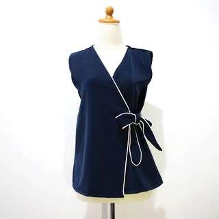 Navy Blue Outerwear with Tie