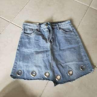 Blue Denim Skirt With Circle Holes